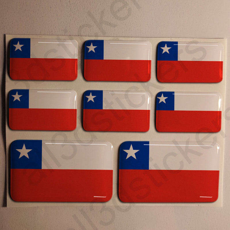 Stickers resin domed flag chile 3d