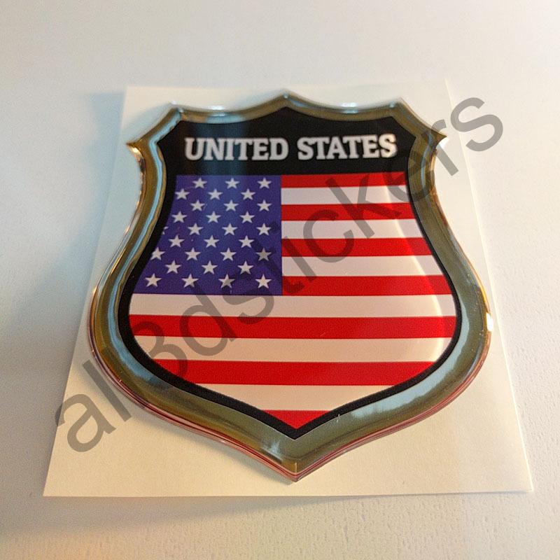 Pegatina Emblema Bandera Estados Unidos 3D