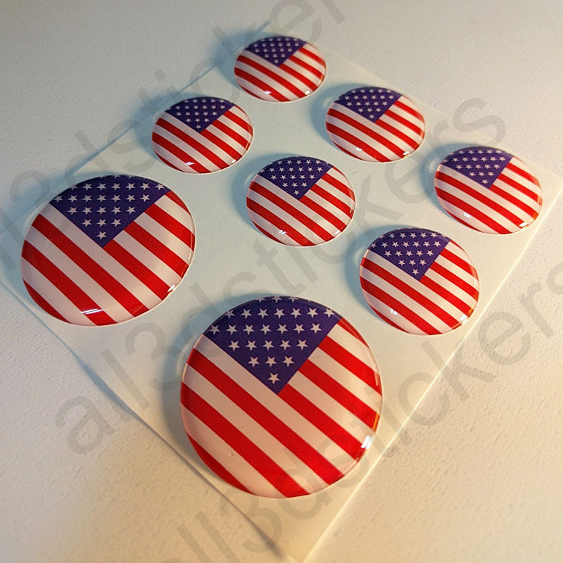 Round Stickers Flag United States USA 3D