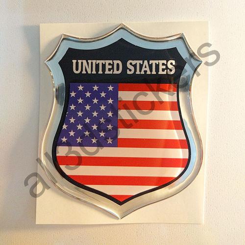 Autocollant États-Unis d'Amérique Emblème Drapeau Résine 3D Relief