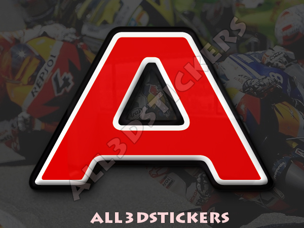 Color Black 3D Stickers Resin Domed LETTER W 3 inches Adhesive Decal 75 mm