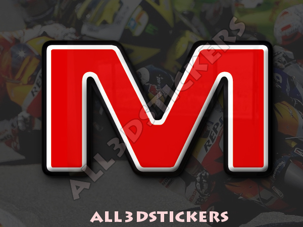 1 inch Adhesive Decal 3D Stickers Resin Domed LETTER K 25 mm Color Red