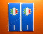 2 x 3D Sticker Resin Domed Euro ITALY Number Plate with Flag Car Badge