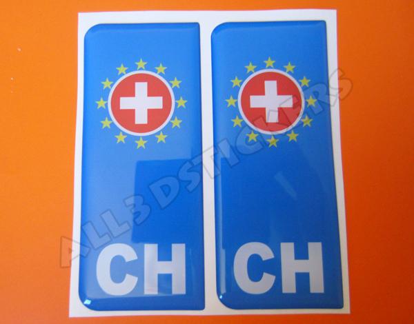 All3DStickers Sticker Switzerland Resin 3D Emblem Switzerland Domed Flag